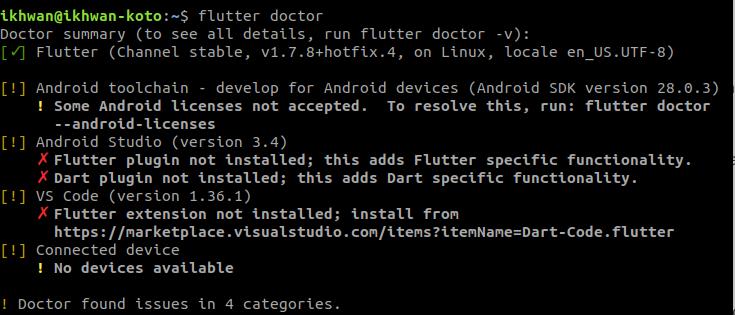 flutter doctor after install