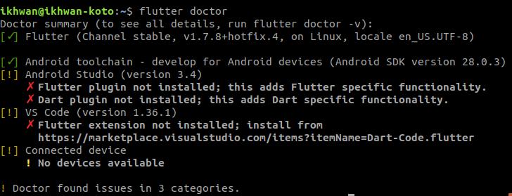 flutter doctor setelah memperbaiki android licenses